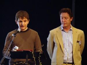 Jörg Steinert (LSVD Berlin-Brandenburg) und Axel Hochrein (LSVD-Bundesvorstand) fordern ein nachhaltiges Programm gegen Homophobie im Sport - Foto: Caro Kadatz