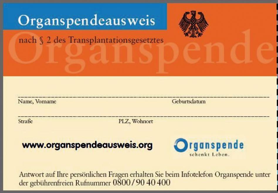 Organspendeausweis - Quelle: www.organspendeausweis.org