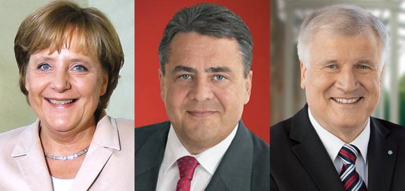 Angela Merkel, Sigmar Gabriel, Horst Seehofer - Quelle: Ricardo Stuckert/PR, SPD, CSU (v.l.n.r.)
