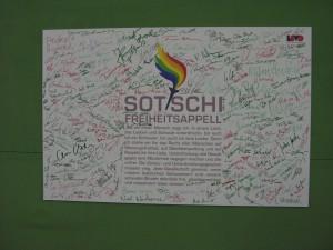 Sotschi-Freiheitsappell Unterschriften