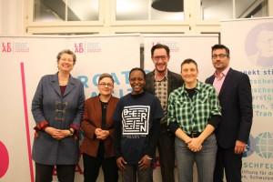 Juliane Krohnen (RLA) , Martina Basso (Mennonitisches Friedenszentrum Berlin), Kasha Nabagesera, Axel Hochrein (Hirschfeld-Eddy-Stiftung), Manuela Kay (L-Mag / Siegessäule) und Oliver Triebel (LEAD) (c) LSVD