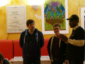 Klaus Jetz, Sarah Kohrt, Oumar Diallo im Afrika-Haus, Foto: Afrika-Haus