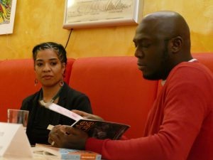 Olumide Popoola and Elnathan John at Afrika-Haus Berlin, photo: Afrika-Haus