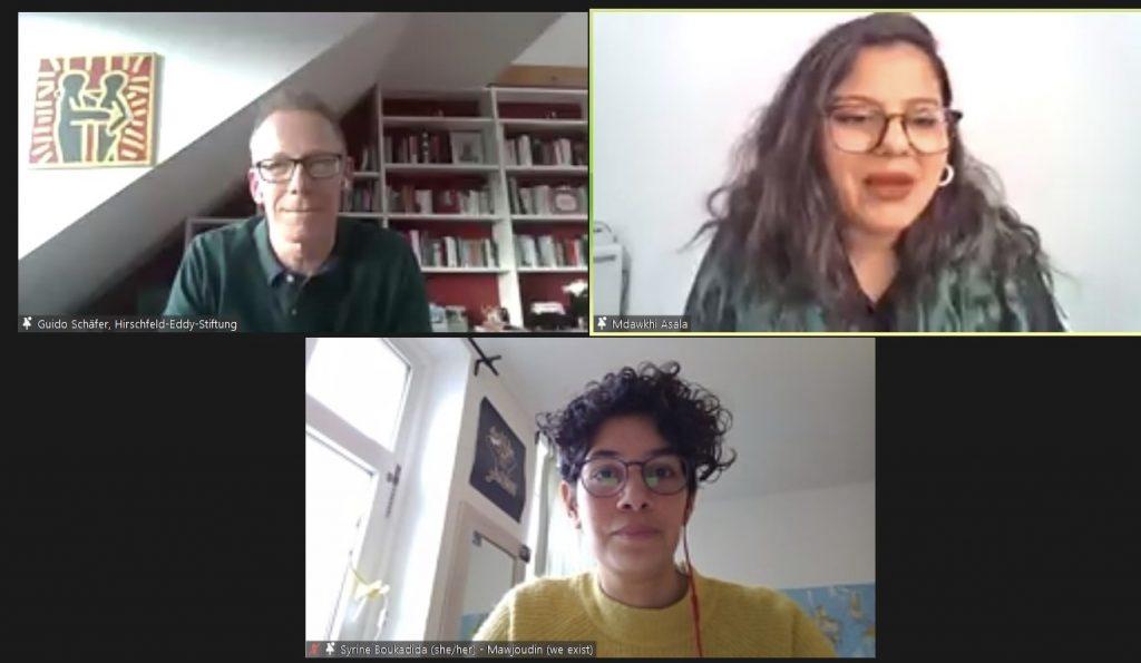 Syrine Boukadida, Asala Mdawkhy und Guido Schäfer